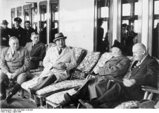 Adolf Wagner (furthest to the right) together with Adolf Hitler, Robert Ley and Wilhelm Brückner in 1939.