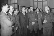 Rudolf Heß, Heinrich Himmler, Bouhler, Fritz Todt and Reinhard Heydrich (from left), listening to Konrad Meyer at a Generalplan Ost exhibition, 20 March 1941.