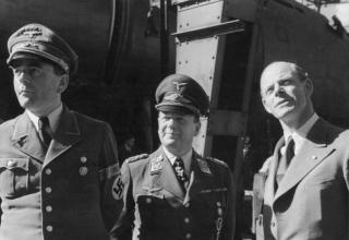 Milch (centre) with Minister of Armaments Albert Speer (left) and aircraft designer Willy Messerschmitt (right).