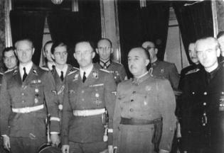 Karl Wolff, Jochen Peiper and Heinrich Himmler are received by Generalísimo Francisco Franco, Spain, October 1940.