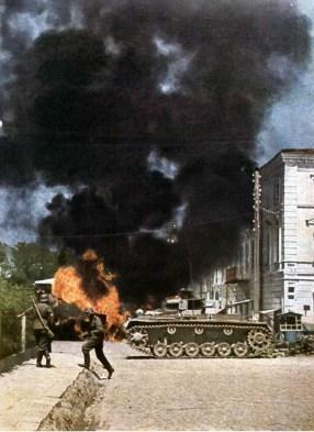 Burning vehicles.