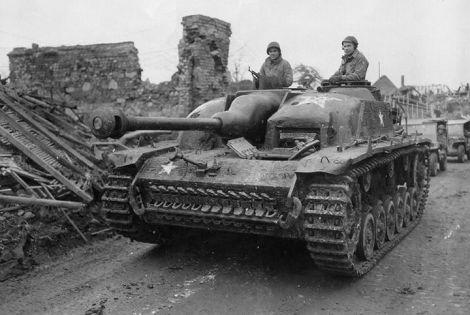 Captured Stug with extra concrete armour.