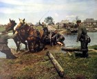This picture was taken by Kriegsberichter Koltzenburg and showing a horse wagon belong to a German Grenadier company crossing the stream in Russia, summer 1942.