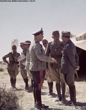 General Erwin Rommel speaking with his Italian allies. In the middle is Sonderführer Dr. Ernst Franz, Rommel's interpreter.