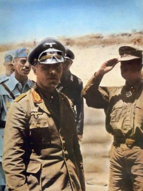 Erwin Rommel and Wilhelm Bach (saluting)