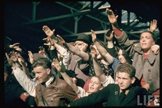 Excited crowds saluting at Graz, during Hitler's Austrian Anschluss referendum.
