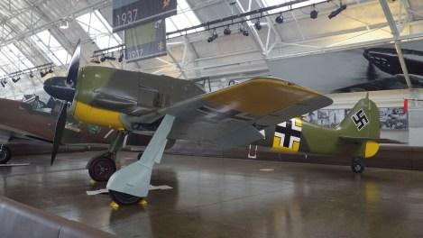The Flying Heritage & Combat Armor Museum's airworthy Fw 190A-5, WkNr. 151 227, on indoor display between flights.
