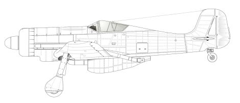 "The Fw 190C V18 prototype, with large ventral ""pouch"" fairing for the turbocharger installation and broader-chord vertical fin/rudder."