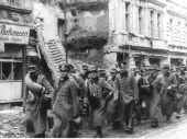 German POWs march out of Berlin after the surrender.