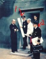 From left to right: Großadmiral Karl Dönitz, Korvettenkapitän Jan Heinrich Hansen-Nootbaar (Dönitz adjudant), Generaloberst Alfred Jodl and Konteradmiral Gerhard Wagner