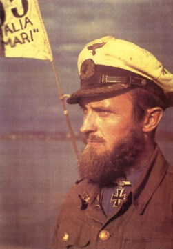 Korvettenkapitän Robert Gysae with his beards after long patrol.