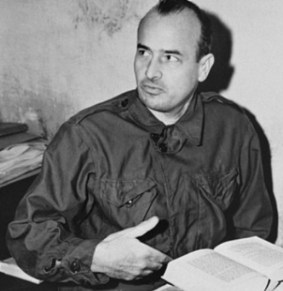 Hans Frank as a defendant before the International Military Tribunal.