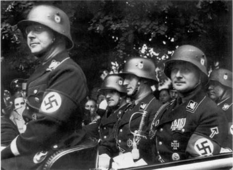 Heinrich Himmler, August Heissmeyer, Reinhard Heydrich, Karl Wolff, Richard Walther, and Darre Quedlinburg, 1936.