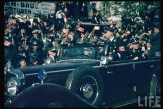 Heinrich Himmler in Graz, Austria during Hitler's AustrianAnschluss referendum , April 1938.