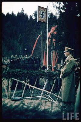 Adolf Hitler speaking at cornerstone laying, Münich-Salzburg autobahn during the AustrianAnschluss referendum.