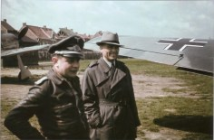Josef Priller and Profesor Kurt Tank (chief designer Focke-Wulf), September 1942.