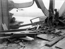 Damage to the southern side of the Ludendorff Bridge from the failed German demolition charge on the eastern pier.