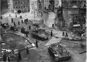 Retreating German troops after an agreement with local resistance for safe passage, May 1945, Prague.