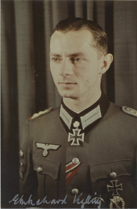 Ekkehard Kylling-Schmidt as an Oberleutnant after receiving the Eichenlaub #150.