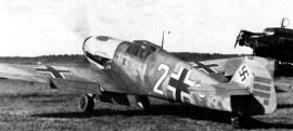 """Ostermann's Bf 109 F-2 """"white 2"""" bearing 33 victory marks, September 1941."""