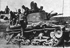 Panzertruppen of the 6th Panzer Division board Panzerkampfwagen 35(t)s during Operation Barbarossa.