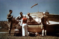 Hanna Reitsch with DFS Reiher on expedition in Libya, 1939.
