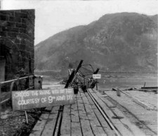 The collapsed Ludendorff Bridge on 27 March 1945.