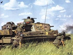 Panzer III advancing in Russia.
