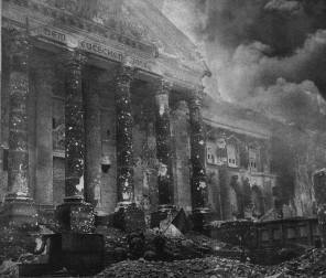 Soviet solders enter the burning Reichstag, May 2, 1945.