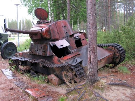T-26 tank, model 1938, was used and destroyed during the battle for Suomussalmi . The tank still stands on the place where it was left behind.