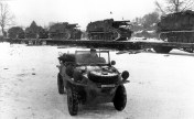 The schwimmwagen from 9th SS Panzer-Division and in the background Hummels and Munitionsträger Hummel.