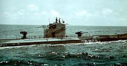 U-boat in the sea.