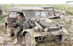 Volkswagen Type 82 Kübelwagen (literally, tub or bucket car) WH-1276387 'Feldgendarmerie' on the Eastern Front during' Operation Citadel', June 21, 1943.