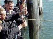 Willi Schultz fishing with his fellow Luftwaffe airmen.