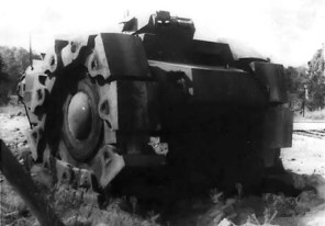 This poor quality image of the VsKfz 617 still conveys the vehicle's rather imposing appearance. Only one machine gun is in the turret, which is how it was found by Russian forces.