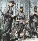 Finnish guerrilla heroes in the Continuation War, FLTR: Kapteeni Pentti Railio, Luutnantti Lauri Törni and Luutnantti Holger Pitkänen.