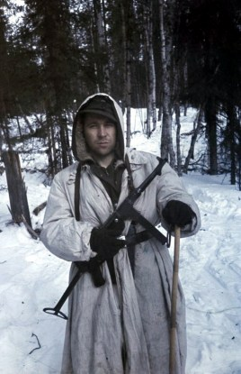 """Soldier of 6. SS-Gebirgs-Division """"Nord"""" wearing winter camouflage."""