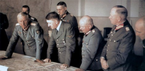 Generalfeldmarschall Erich von Manstein (left) discussing the eastern front situation with Adolf Hitler on September 15, 1943, at Wolf's Lair in East Prussia. Also present are von Manstein's Chief of Staff Generalleutnant Theodor Busse (behind Hitler), Generalfeldmarschall Ewald von Kleist (2nd from right), Generaloberst Kurt Zeitzler (3rd from right) and Richard Ruoff, as well as General der Panzertruppe Werner Kempf.