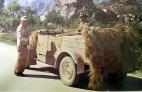"""VW Typ 82 leichter geländegängiger Personenkraftwagen (Kfz. 1) """"Kübelwagen"""" in Sicily, Italy, ready to cross the strait of Messina using Siebel ferry (Siebelfähre), 1943."""