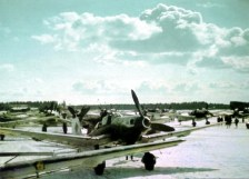 "This photo was taken at Rovaniemi (Finland), one morning in early April 1944. It depicts a Junkers Ju 87 ""Stuka"" D-5 of the 4.Staffel / II.Gruppe / Schlachtgeschwader 1 (SG 1). Note the white ring around the spinner in the Staffel color."