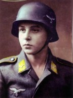 Colorized image of a young Luftwaffe soldat.