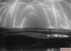 This photo, although deadly, is truly a thing of beauty. Taken in the dead of night using a method that known as long exposure. Essentially, the film is exposed for as much as a minute or more, allowing the beautiful tracer effect to be captured. This was taken during a time of trench Warfare captured by a British photographer during World War I. These are mortar rounds firing back and forth. [c. 1917]