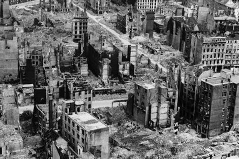 View of Hamburgs wartime bomb damage.