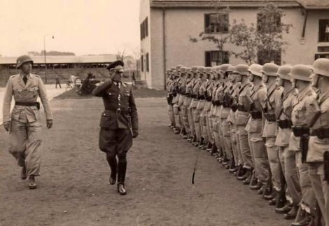 Luftwaffe soldats on review in Greece.