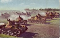 Type 95 tanks and Type 97 tanks of the Chiba tank school during exercises,1940.