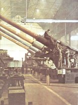 German factory making naval guns for a battleship.