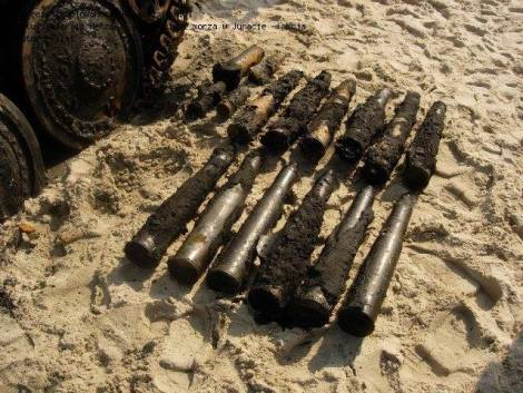 Ammunition for the WW2 German Jagdpanzer 38(t) Hetzer, tank destroyer recovered from the Baltic Sea.