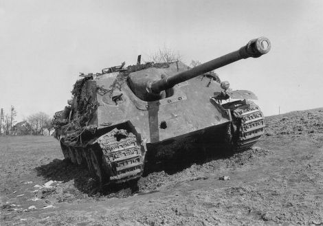 This Jagdpanther tank destroyer from Panzergruppe Hudel was one of three knocked out by a U.S. M36 tank destroyer on 13 March 1945 near Kaimeg-Ginsterhain, Germany.