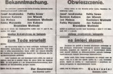 German announcement of the execution of 9 Polish peasants for unfurnished contingents (quotas). Signed by governor of Lublin district 25 November 1941.