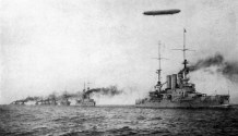 German High Seas Fleet, with a member of the Braunschweig class in the lead.